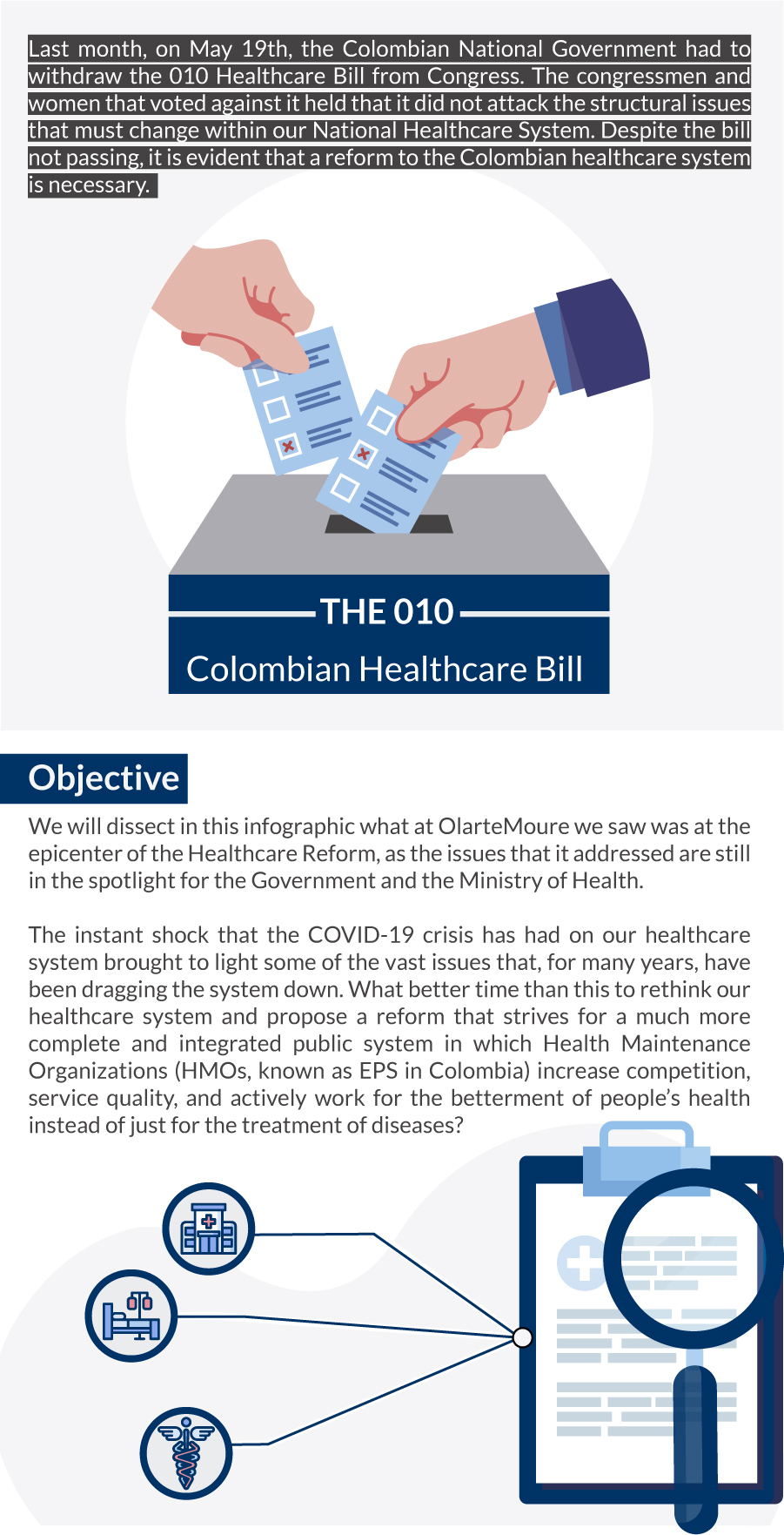 what happened last month in the colombian national government regarding the healthcare bill