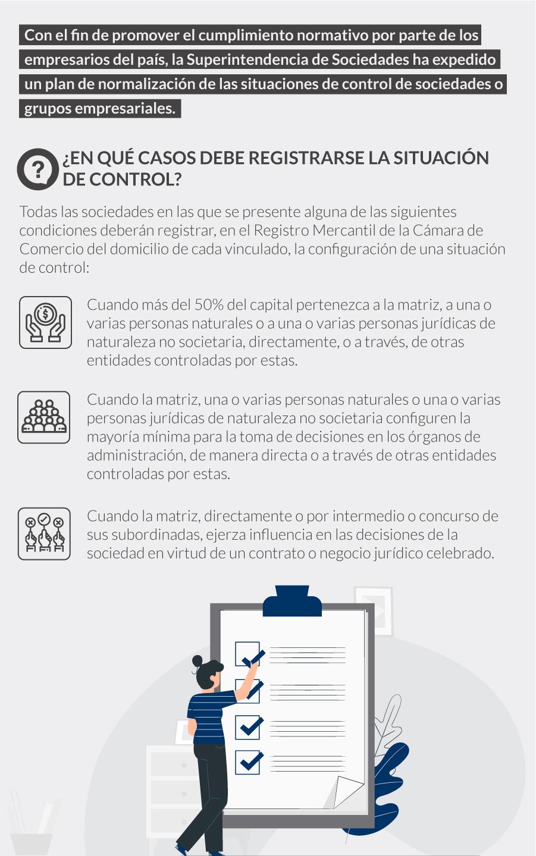 plan de normalización de las situaciones de control de sociedades o grupos empresariales.