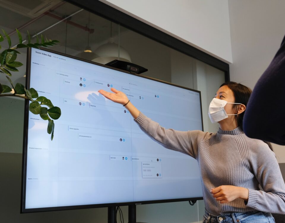 presentation person with mask